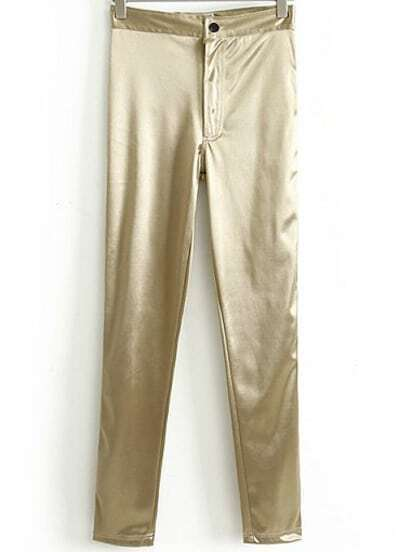 Gold Elastic Casual Skinny Leggings