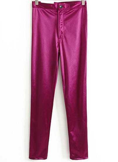 Wine Red Elastic Casual Skinny Leggings