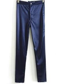 Blue Elastic Casual Skinny Leggings