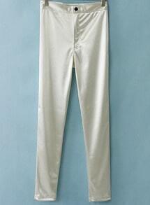 White Elastic Casual Skinny Leggings