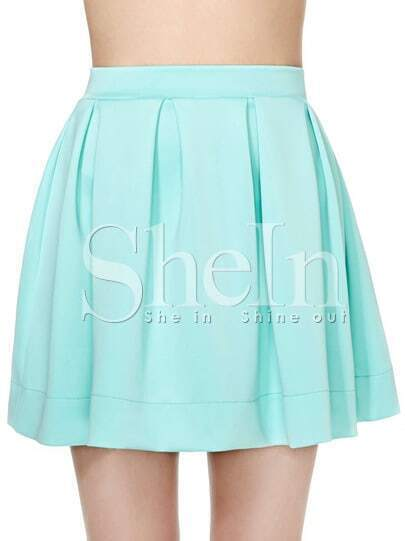 Green Pleated Scuba Skater Skirt