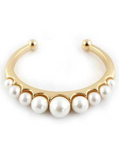 Gold Pearls Cuff Bracelet
