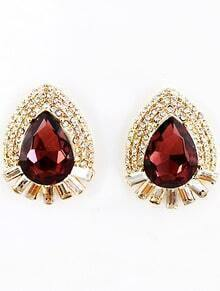 Red Gemstone Gold Diamond Drop Earrings
