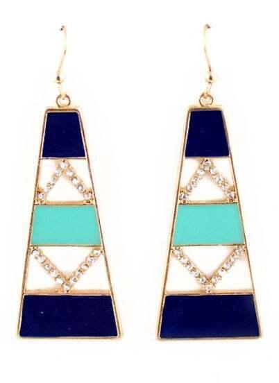 Gold Diamond Geometric Dangle Earrings