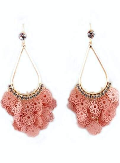 Red Hollow Flowers Gold Diamond Dangle Earrings