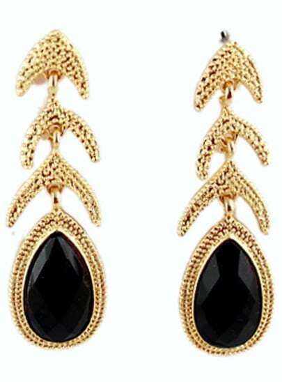 Black Drop Gemstone Gold Fashion Earrings