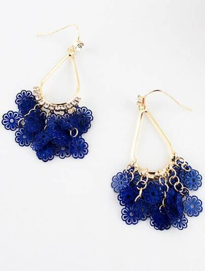 Blue Hollow Flowers Gold Diamond Dangle Earrings