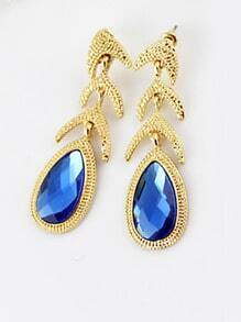 Blue Drop Gemstone Gold Fashion Earrings