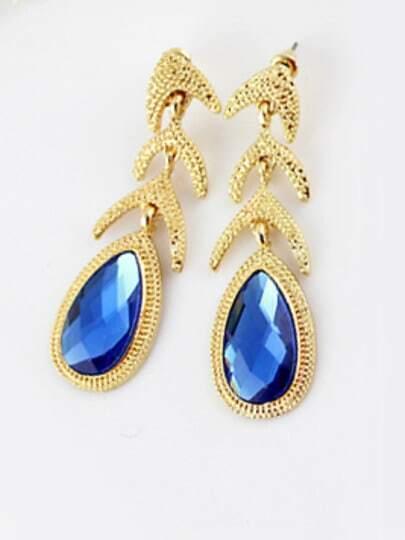 Blue Drop Gemstone Gold Fashion Earrings