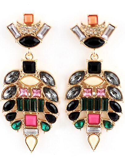 Multicolor Gemstone Gold Hollow Earrings