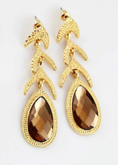 Brown Drop Gemstone Gold Fashion Earrings