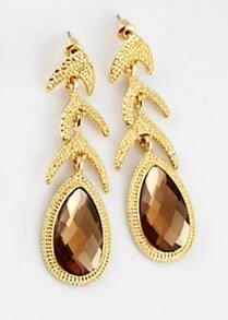 Brown Drop Gemstone Gold Fashion Earrings