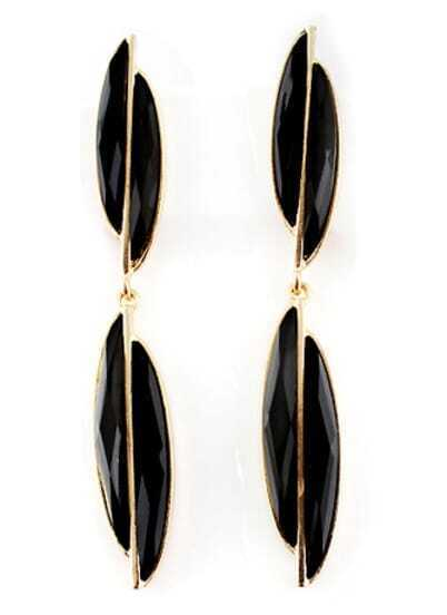 Black Gemstone Gold Geometric Earrings