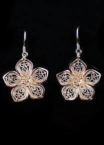 Gold Hollow Flower Dangle Earrings