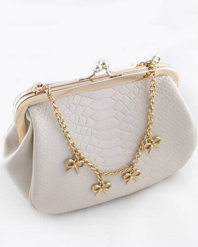 White Crocodile Gold Chain Bow Bag