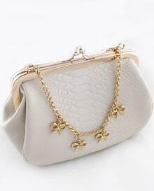 White Crocodile Gold Chain Bow Bag
