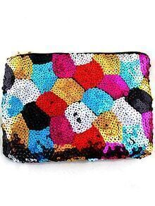 Multicolor Sequined Zipper Clutch Bag