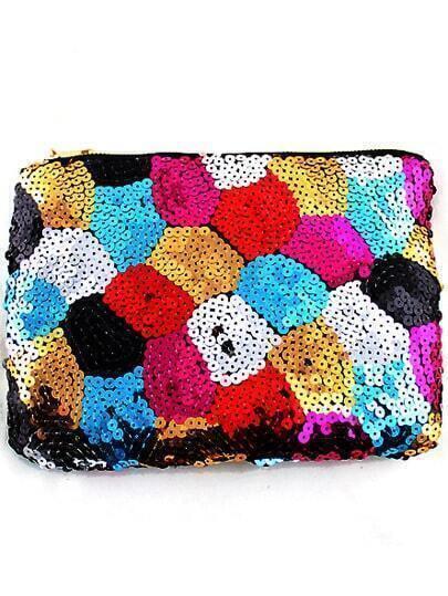 Multicolor Sequined Zipper Clutch Bag
