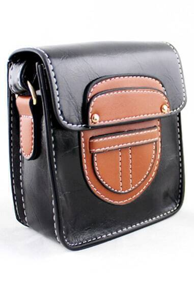 Black Button Satchels PU Leather Bag
