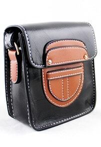 Black Button Satchels PU Leather Bag