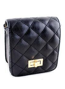 Black Pattern Buckle Satchels Bag