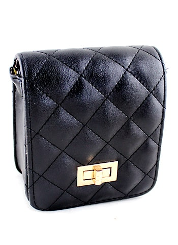 Black Diamond Pattern Buckle Satchels Bag