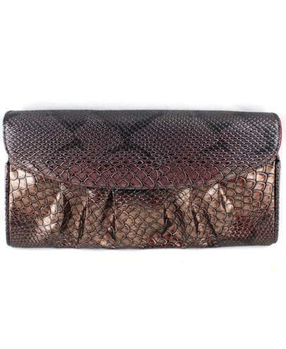 Black Snakeskin Pleated Clutch Bag