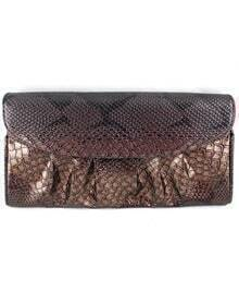 Black Snakeskin Pleated Clutch Bag