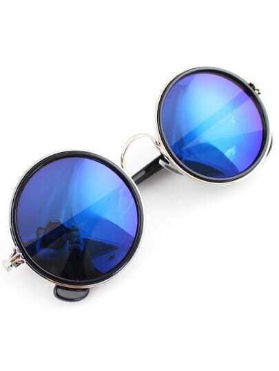 Silver Rim Blue Round Sunglasses