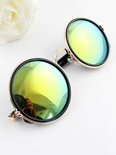 Silver Rim Green Round Sunglasses pictures