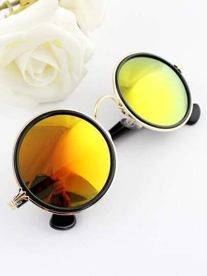 Silver Rim Yellow Round Sunglasses