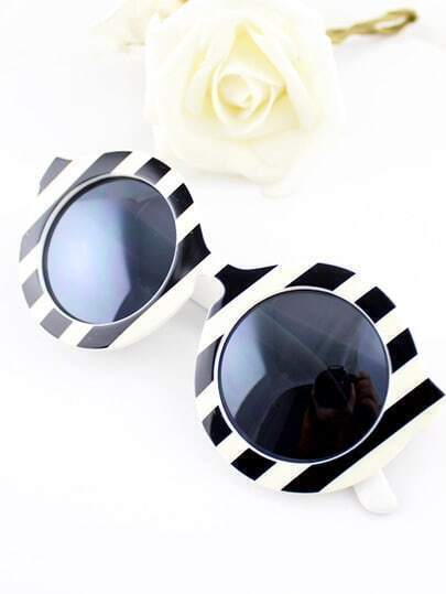 White Stripe Print Round Sunglasses
