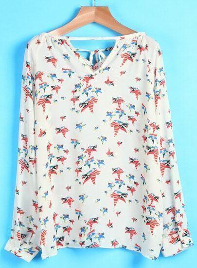 White V Neck Long Sleeve Dove Print Blouse