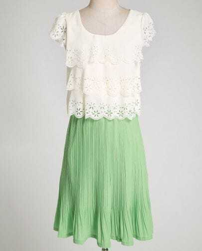Green Short Sleeve Hollow Ruffle Chiffon Dress