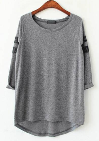 Grey Long Sleeve Asymmetrical Loose T-shirt
