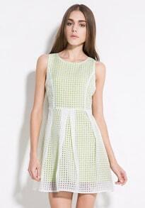 Green Sleeveless Plaid Flare Dress