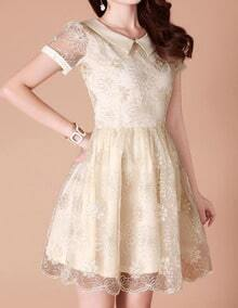 Beige Lapel Flower Embroidery Flare Dress