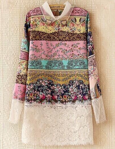 Multicolor Lapel Floral Print Contrast Lace Dress
