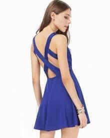 Blue V Neck Backless Strappy Skater Dress