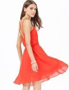 Orange V-shaped Neckline Spaghetti Strap Pleated Dress