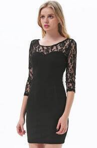 Black Contrast Vampy Lace Bodycon Dress