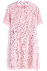 Pink Short Sleeve Embroidered Lace Slim Dress