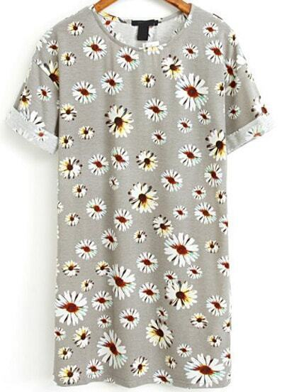 Grey Short Sleeve Daisy Print Flange Dress