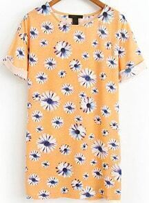 Orange Short Sleeve Daisy Print Flange Dress