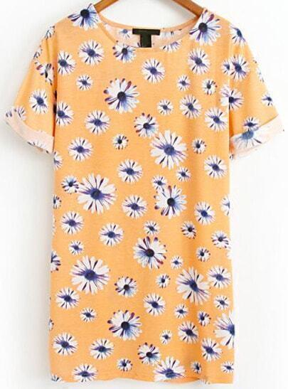 Orange Short Sleeve Daisy Print Flange Dress