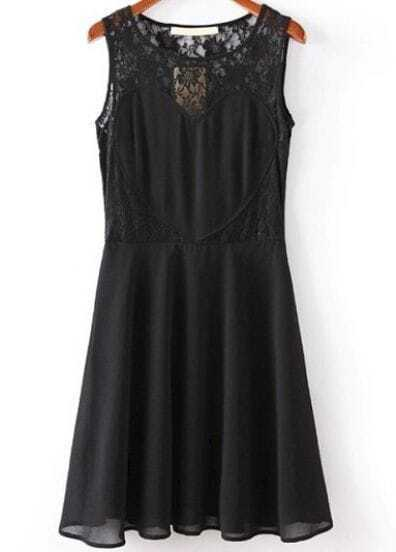 Black Contrast Lace Sleeveless Pleated Dress