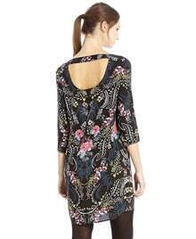 Black Round Neck Backless Floral Straight Dress