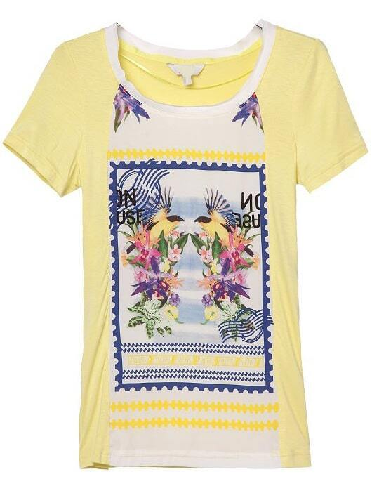 Yellow short sleeve stamp print loose t shirt shein for Stamp t shirt printing