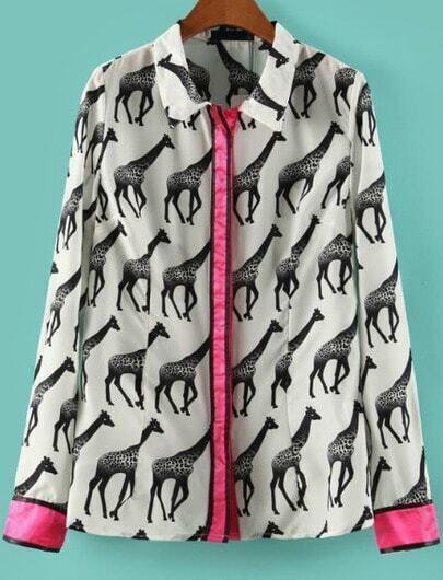 White Contrast Trims Giraffe Print Blouse