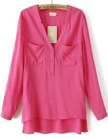 Pink Long Sleeve Pockets Dipped Hem Blouse
